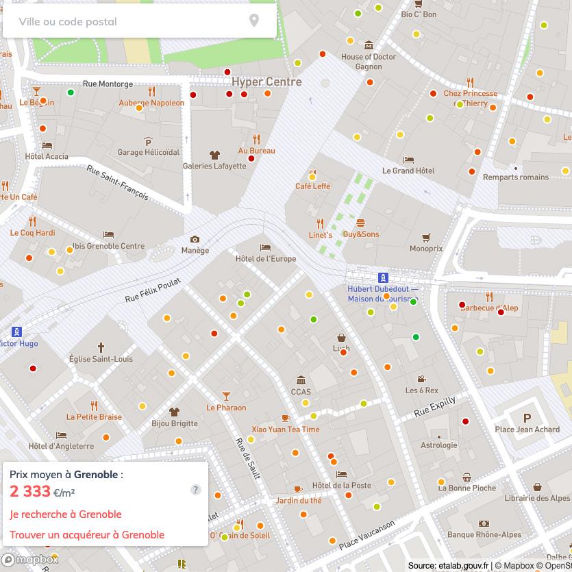 Carte des prix de Grenoble