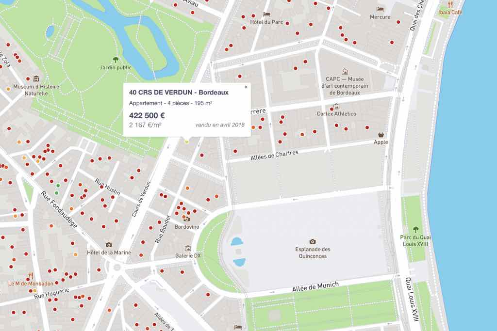 Capture d'écran de la carte des prix immobilier de Bordeaux